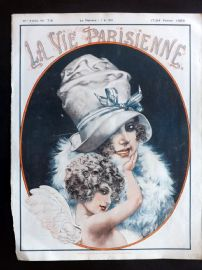 La Vie Parisienne by Herouard 1923 Art Deco Print. Lady in hat with Angel